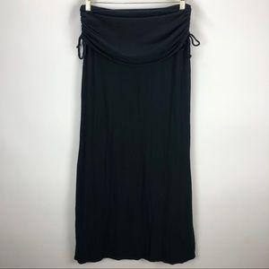 Athleta Folded Crinkled Maxi Skirt Black - Small